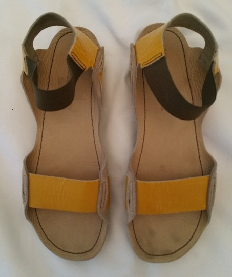 Jil Sander beige with yellow patent strap and green elastic strap Sandals