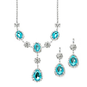 Mariell Rhinestone Prom & Bridesmaid Necklace Set With Teal Teardrops 3803s-te
