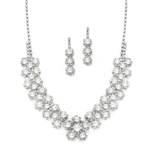 Mariell White Pearl & Silver Rhinestone Bridal Necklace Set With Daisies 3805s-w-s