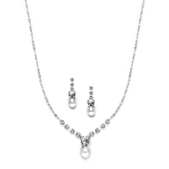 Mariell Silver Dainty White Pearl Crystal Prom Or Bridesmaids Neck Set 3839s Necklace