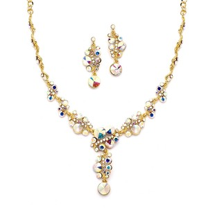 Mariell Ab Crystal Bubbles With Gold Pave Necklace & Earrings Set 4150s-ab-g