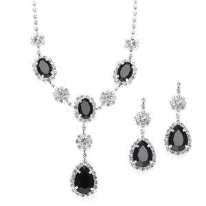 Mariell Rhinestone Prom & Bridesmaid Neck Set With Black Teardrops 3803s-je