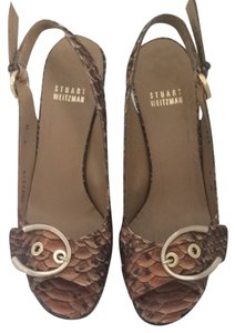 Stuart Weitzman faux brown snakeskin Wedges