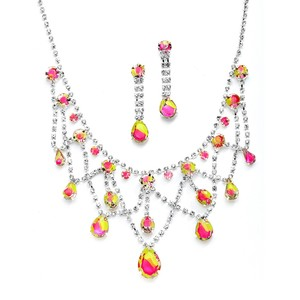 Mariell Hand-painted Neon Rhinestone Prom Or Bridesmaids Necklace & Earrings Set 4133s-nemu