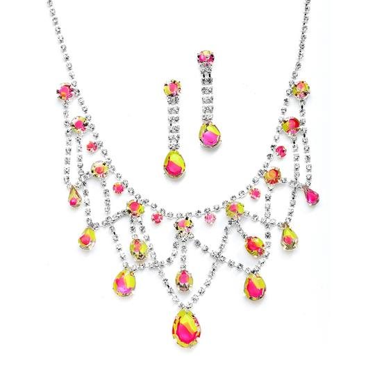 Mariell Neon Hand-painted Rhinestone Prom Or Bridesmaids Necklace Set 4133s-nemu Earrings