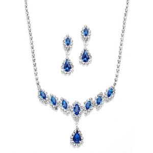 Mariell Royal Blue Rhinestone Necklace & Earrings Set 3669s-ry