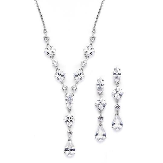 Preload https://img-static.tradesy.com/item/3424657/mariell-silver-glamorous-mixed-cubic-zirconia-earrings-set-3564s-necklace-0-0-540-540.jpg