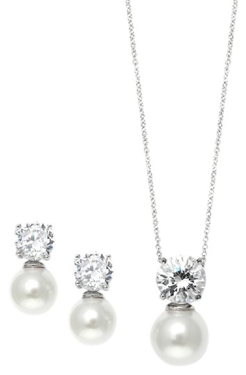 Mariell Silver Cubic Zirconia with Pearl Solitaire Earrings Set 3508s Necklace