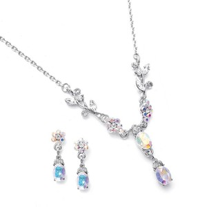 Mariell Dainty Floral Bridesmaid Or Prom Necklace Set 105s-ab