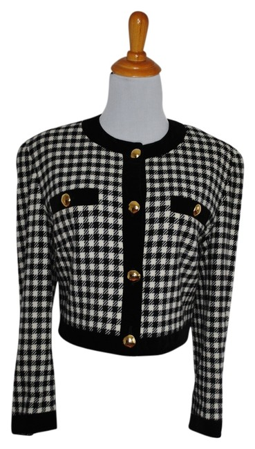 Preload https://img-static.tradesy.com/item/3424774/escada-black-white-check-plaid-gold-cashmere-wool-jacket-blazer-size-12-l-0-0-650-650.jpg