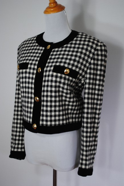 Escada Houndstooth Cashmere Jacket Wool Black Blazer
