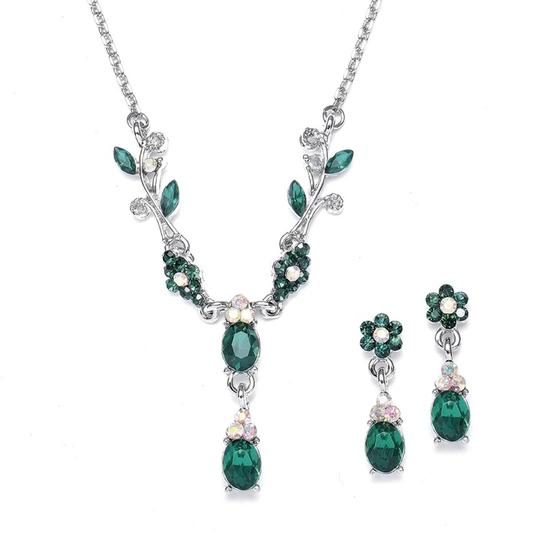Mariell Emerald Floral Bridesmaid Or Prom 105s-em Necklace