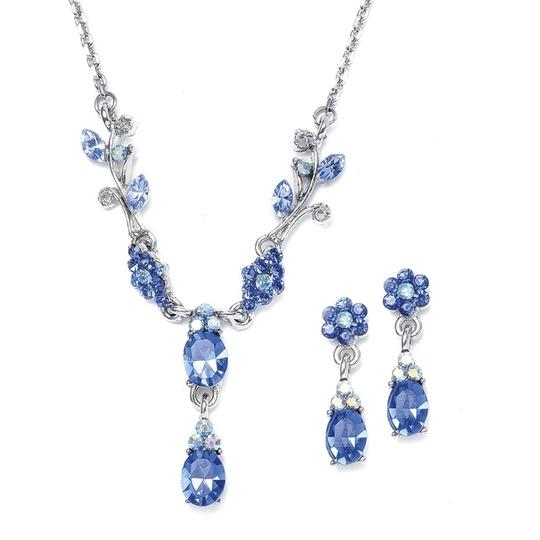 Mariell Sapphire Floral Bridesmaid Or Prom Necklace Set 105s-sa