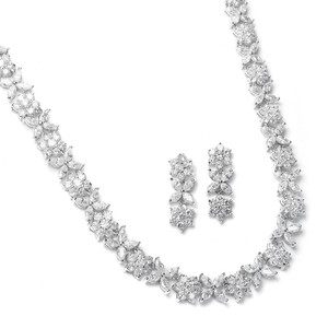 Mariell Silver Cz with Cz Marquis Flowers 2020s Necklace