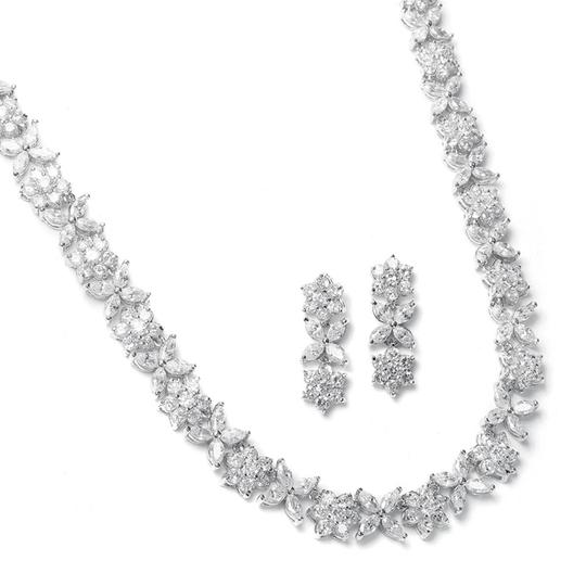 Mariell Cz Bridal Necklace With Cz Marquis Flowers 2020s