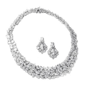 Mariell Ravishing Cubic Zirconia Wedding Necklace Set 2028s