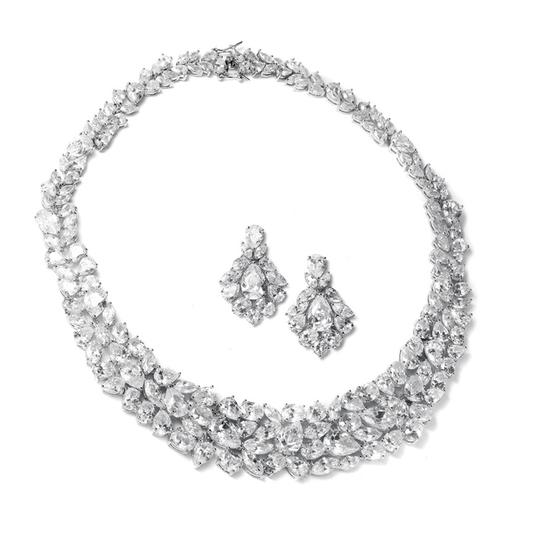 Mariell Silver Ravishing Cubic Zirconia Necklace Set 2028s Earrings