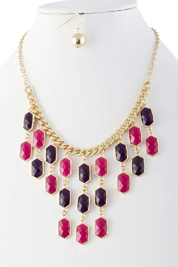 Unknown Purple Faceted Jewel Chain Fringe Bib Necklace Set