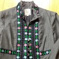 Nanette Lepore Grey With Colorful Embroidered Trim Blazer Image 2
