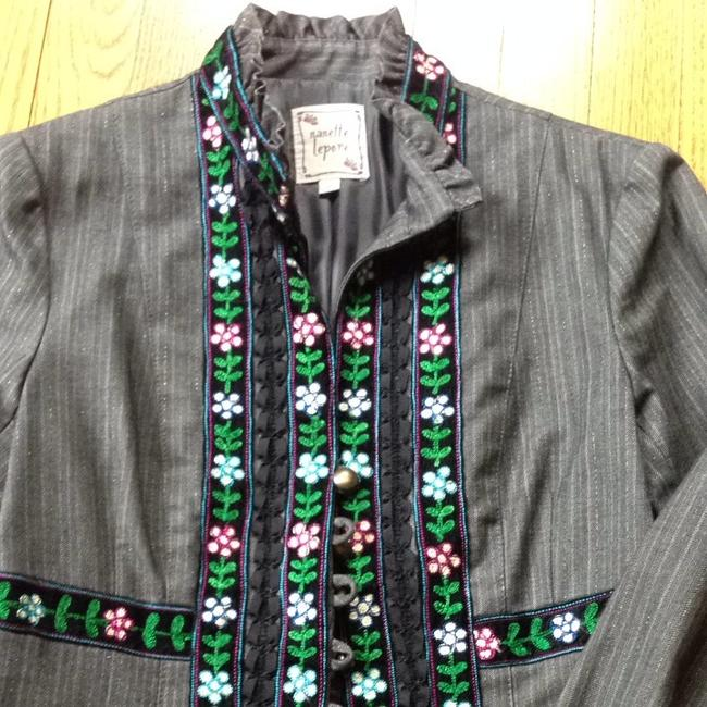 Nanette Lepore Grey With Colorful Embroidered Trim Blazer