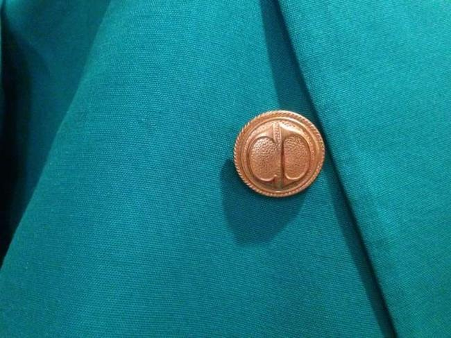 Dior Christian Cd Green Jacket Boyfriend Gold Button Double Breast Turquoise Blazer