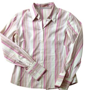 PINK Button Down Shirt Hot Pink Beige Lavender