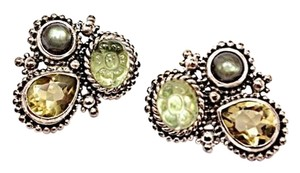 Stephen Yearick Stephen Dweck Floral carved quartz, quartz faceted teardrop, and green garnet cabochon