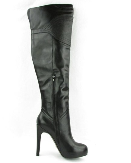 A.B.S. by Allen Schwartz Leather High Leather Over Knee Leather Thigh High BLACK Boots