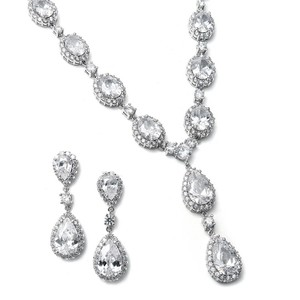 Mariell Bridal Necklace Set With Bold Cz Pears And Ovals 308s-cr