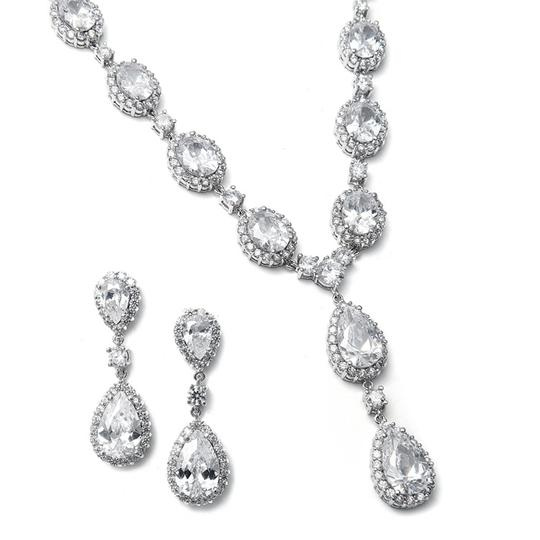 Mariell Silver With Bold Cz Pears and Ovals 308s-cr Necklace
