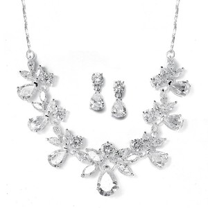 Mariell Multi Pear Shaped Cz Necklace Set With Delicate Chain 578s
