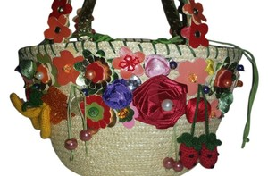 Braccialini Fruit And Flower -- Straw Fruit Floral Satchel in MULTI