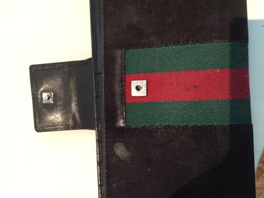 Gucci GUCCI Suede Wallet with Classic Stripe