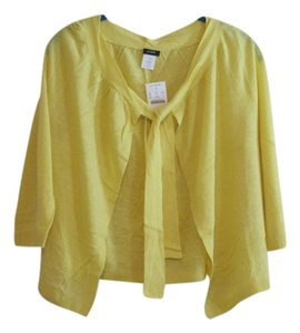 J.Crew Yellow Neon Cardigan Silk Linen Sweater
