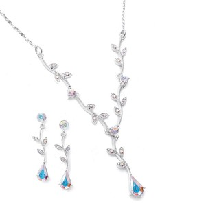 Mariell Ab Crystal Bridesmaid Or Prom Necklace Set With Vine 580s-ab