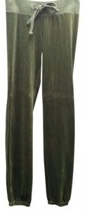 Juicy Couture Velour Lounge Active Classic Designer Signature Sleep Comfortable Slim Skinny Olive Relaxed Banded Elastic Casual Usa Athletic Pants Green