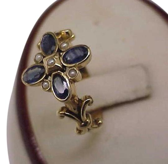 Other Amazing! 1.50ct Genuine Sapphire Pearl 9kt (375) YG Ring, 1800s