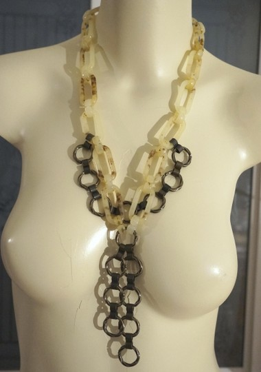 Other Limited Edition ImmI Steam Punk Tortoiseshell Lucite Metal Chain Necklace