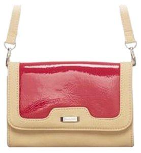 Other Patent Retro Strap Red & Tan Clutch