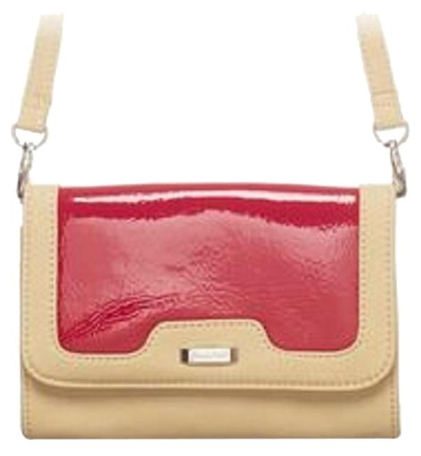 Retro Detachable Strap Cross-body Bag/Clutch Red & Tan Faux Leather Clutch Retro Detachable Strap Cross-body Bag/Clutch Red & Tan Faux Leather Clutch Image 1