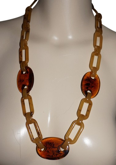 Other L.E. Chunky Tortoiseshell Lucite Chain Runway Necklace
