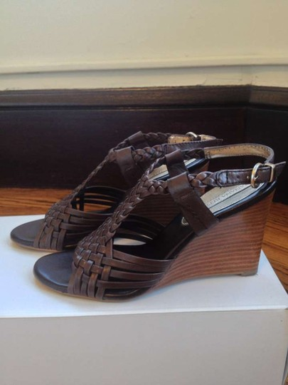 Banana Republic Leather Sandal chocolate brown Wedges
