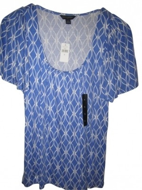 Preload https://img-static.tradesy.com/item/34269/banana-republic-blue-printed-tee-shirt-size-4-s-0-0-650-650.jpg