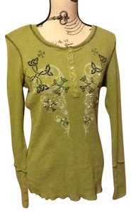 One World Sequins Comfortable Long Sleeve Floral Curved Neckline Sweater