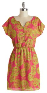Hello Miss short dress Pink/Yellow Tropical Bright Floral Vacation Summer on Tradesy