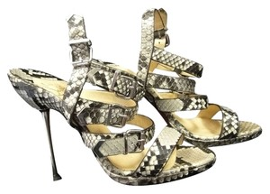 Christian Louboutin Metal Leather Snakeskin Sandals