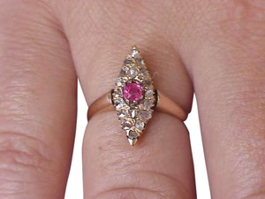 Authentic pre-1917 Russian Imperial 56 (14k ) Rose Gold Ring: Genuine RUBY & DIAMONDS, 18c (1860's).