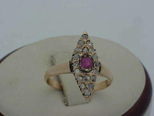 Other Authentic pre-1917 Russian Imperial 56 (14k ) Rose Gold Ring: Genuine RUBY & DIAMONDS, 18c (1860's).