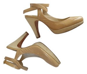 Max Studio Tan Biege Woven Lenen Real Leather Patent Leather Genuine Leather Leather Sole Summer Heels Pumps Sandals Party Fun 9 Nude Platforms