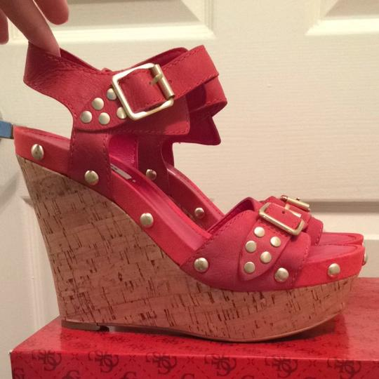 Guess Summer Coral Pink Red Leather Wedges